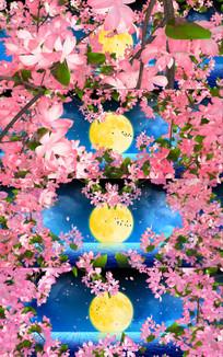 唯美花瓣飘落月亮背景视频