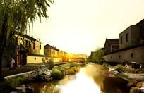 新中式别墅区小溪景观效果图