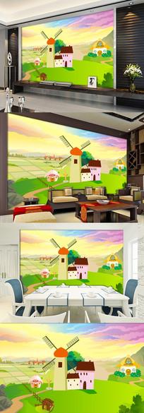 高清手绘森林小路背景墙壁画壁纸图片