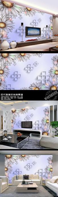 手绘菊花简约3D时尚背景墙