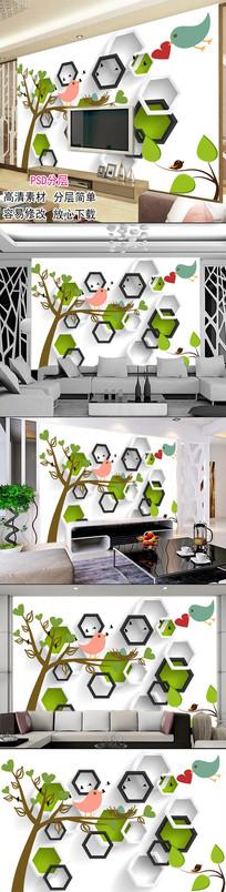 手绘树3D立体客厅电视背景墙图片