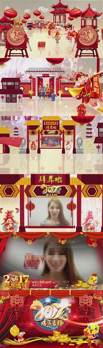 2017鸡年春节拜年视频企业年会开场片头卡通动画AE模板