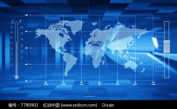 视频_蓝色科技感新闻演播室背景视频