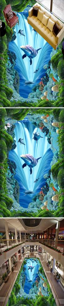 流水海豚立体3D地画