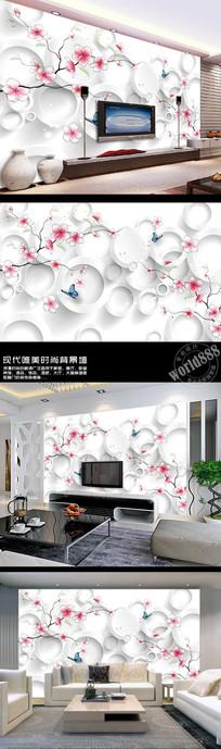 手绘桃花抽象花立体圆3D时尚背景墙