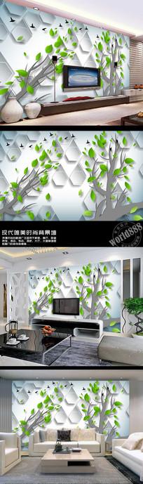 树林小鸟林中飞鸟3D时尚背景墙