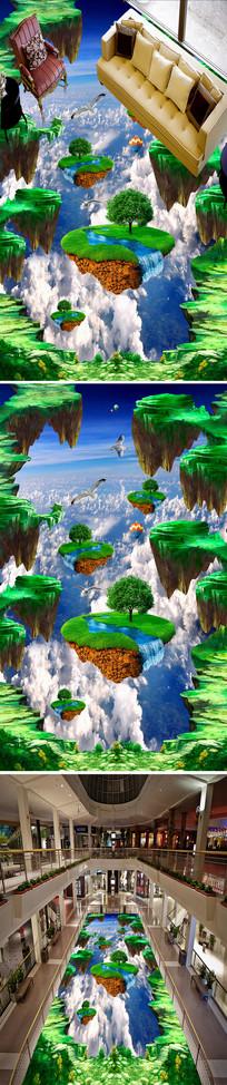 天空悬浮山立体3D地画