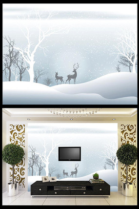 雪景冬天树林麋鹿背景墙