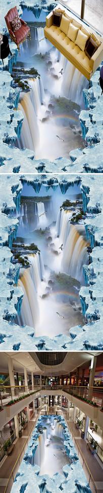 冰山流水瀑布3D立体地画 PSD