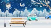 大雪纷飞的城市车来车往卡通视频