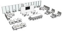 公共餐厅休闲室内SU模型