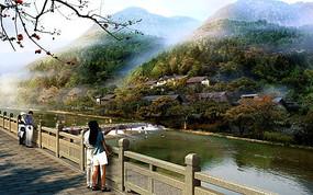 古村堤顶河坝景观jpg