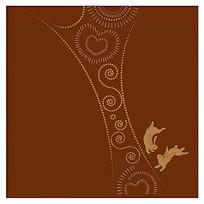 咖啡时尚玉兔子插画