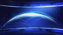 蓝色星球新闻演播室背景视频素材