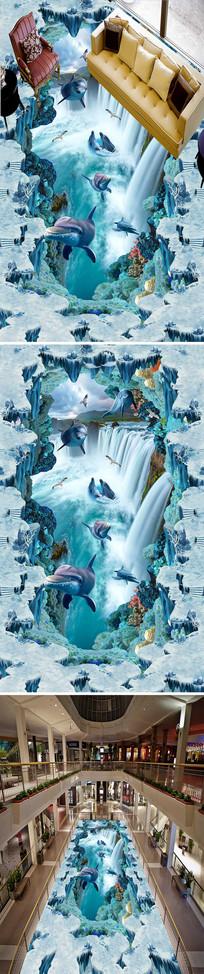 流水海豚瀑布3D立体走道地画 PSD