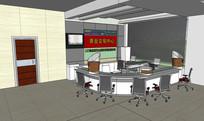 前台办公区域空间设计SU