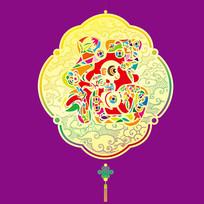 七彩福猴灯笼插画
