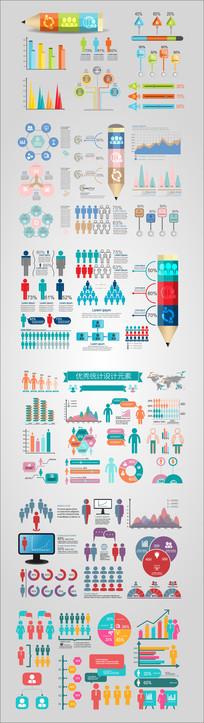 人口统计扁平化设计元素 AI