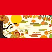 日式金色秋季食品包装图案 AI