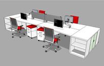 商务办公空间设计SU模型 skp