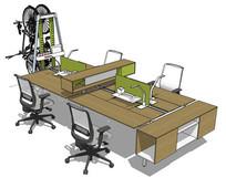 四人面对面办公书桌SU模型 skp