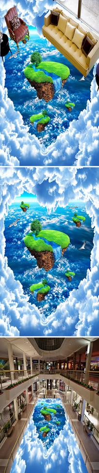天空悬浮小岛立体地画地贴