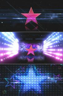 五角星旋转闪光芒夜店晚会舞台背景视频