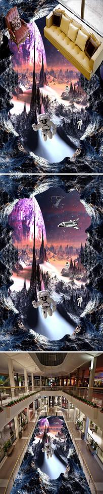 宇航员宇宙3D立体地画