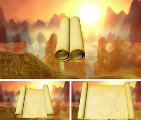 中国风古代卷轴打开动画通用视频素材