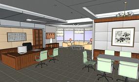 中式办公整体空间模型SU