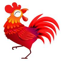 2017鸡年春节新年立体红色手绘鸡