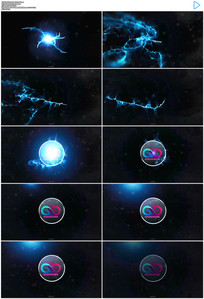 蓝色光线粒子开场出标志AE模板