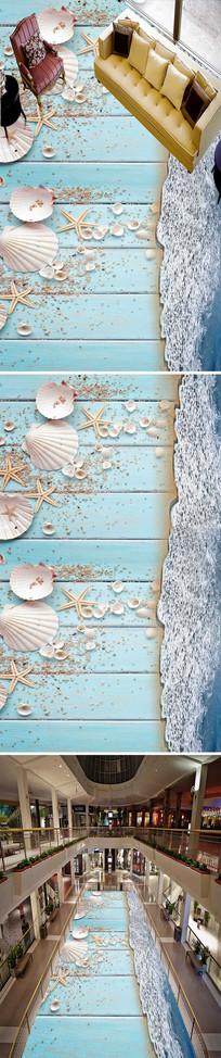 沙滩海星海螺3D地板地画 PSD