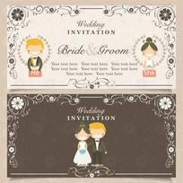 时尚情侣卡通结婚请帖婚礼邀请卡