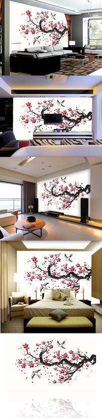 水墨国画梅花电视背景墙