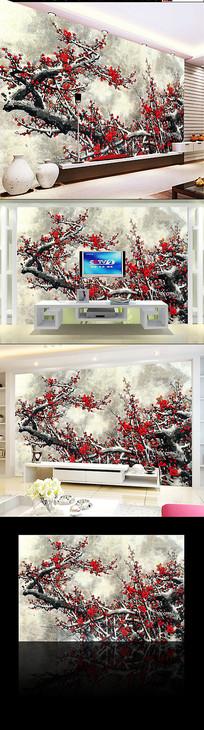 水墨梅花电视背景墙