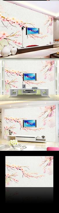 水墨山水杏花电视背景墙