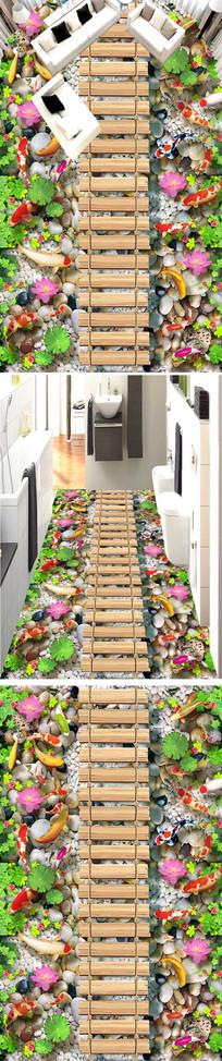 鹅卵石荷花鲤鱼3d立体地板画 PSD