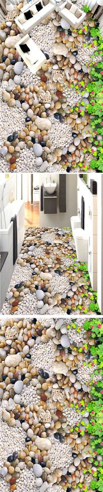 光滑的鹅卵石3D地板