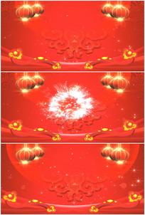 过年春节喜庆红灯笼旋转如意烟花视频