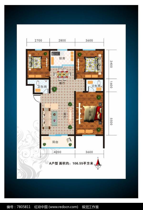 宽敞三室两厅室内户型图图片