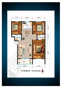 宽敞三室两厅室内户型图 CDR