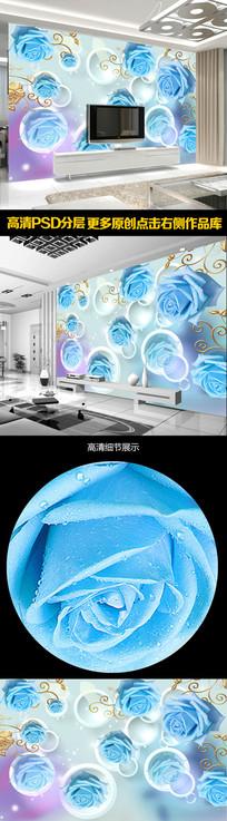 玫瑰3D现代简约装饰背景墙 PSD