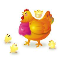 母鸡与雏鸡插画素材