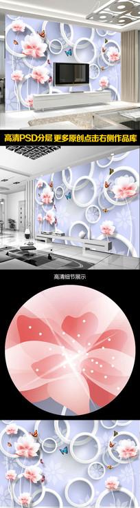 清新淡雅简约3D电视背景墙 PSD