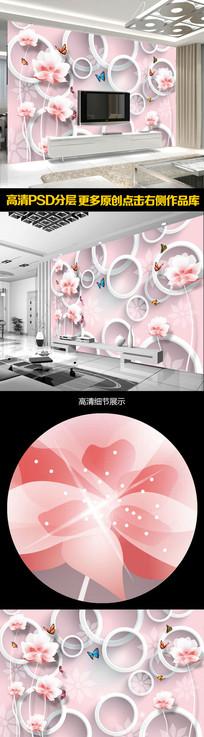 温馨淡雅蝶恋花3D电视背景墙 PSD