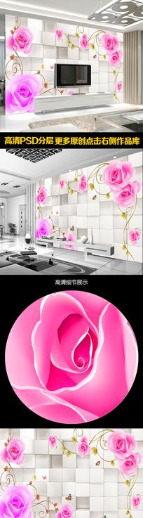 现代简约装饰花卉电视背景墙 PSD