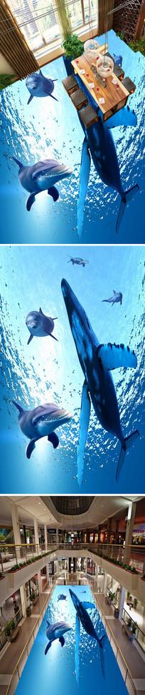 海底鱼鲸鱼海豚地画