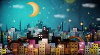 浪漫卡通城市视频