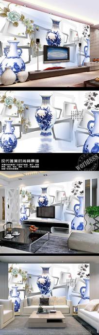 梅瓶古瓷立体几何3D时尚古典中式背景墙